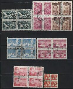 BRAZIL - 1957 USED BLOCKS OF 4