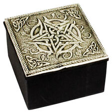 "NEW Silver Pentacle Trinket Box 2.5"" Wood and Metal Wicca Celtic Pagan Engraved"