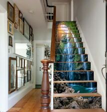 13PCS Waterfall in deep Forest Self-adhesive PVC Waterproof Stair Sticker Murals