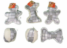Gray Plaid Fleece Dog Toys Set of 6 With Squeaker Soft Plush
