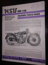 Prospektblatt Sales Brochure NSU Einzylinder Touren Modell 300ccm Motorrad Bike