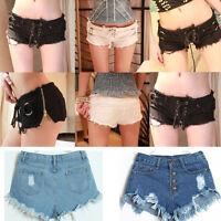 Fashion Women High Waist Tassel Hole Shorts Jeans Denim Slim Casual Short Pants