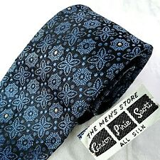 BACKSTOCK VTG Carson Pirie Scott Silk Tie Black + Blue Floral Narrow Mid-century