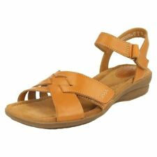 Hook and Loop Fasteners Block Leather Casual Sandals & Flip Flops for Women