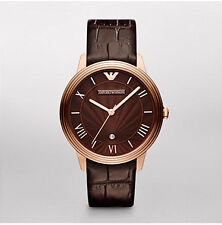 Emporio Armani Men's Brown Leather Rose Gold Stainless Steel Dress Watch AR1613