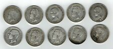 Lote 10 Monedas España 5 pesetas 1871 a 1896  Amadeo Alfonso XIII plata.900 LEER