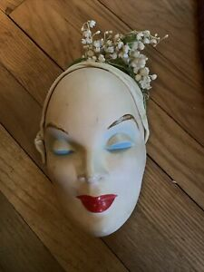 Vintage Beautiful Hand Painted Ceramic Face Mask For Wall Mounting