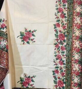 Cotton Fabric Tablecloth Chintz Red Flowers White Background Border 2 Yd