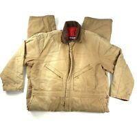 VTG Walls Mens Size XL Short Brown Duck Canvas Insulated Blizzard Pruf Coveralls
