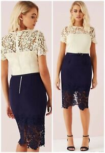 Asos Paper Dolls Ladies 8 Dress Cream Navy Panel Lace Belted Pencil BNWT RRP £60