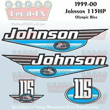 1999-00 Johnson 115 HP Olympic Blue Outboard Reproduction 4Pc Marine Vinyl Decal