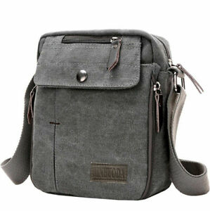 Crossbody Bags Canvas Men Messenger Bags Shoulder Bag Satchel Bag Bookbag-gray