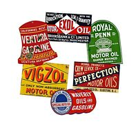 Oil Can Label Stickers Set, 6 Car & Garage Decals REPRODUCTIONS, Gas Sign Label