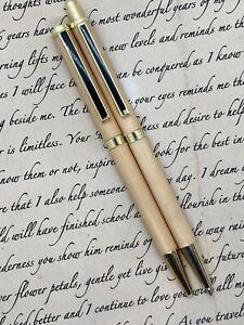 Handcrafted Australian Pen and Pencil Set - Tasmanian Huon Pine Wood