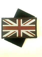 Sew On & velcro Embroidered Patch Badge (Forces Style) Union Flag Jack Brown