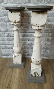 """Vintage Wood Shabby Chic, Farmhouse, Country, Primitive 17.5"""" Candle Stick Pair"""