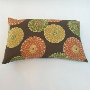 "Throw Pillow Brown Cushion Red Green Yellow Floral Mandala 16"" X 10"""