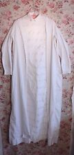 Antique French Cotton Victorian Old Hand Embroidered Nightgown~Wearable~Lg