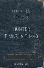 HAWKER HUNTER T.Mk.7 & T.Mk.8 - FLIGHT TEST SCHEDULE