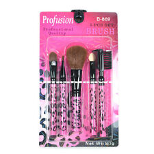 5 PCS COSMETIC BRUSH SET KIT - PINK LEOPARD  EYEBROW EYESHADOW MAKEUP B869