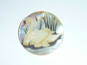 """Beautiful Momma Swan & Babies on MOP - Mother Pearl Shank Button 1-3/8"""""""