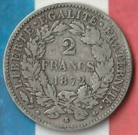 1872 France 2 Francs- 83.5% AG- Nice Big World Silver Coin~