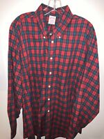 BROOKS BROTHERS Men's 17.5R Red Plaid L/S Button Front Shirt Christmas 🎄 🎅🏻