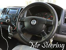 FOR VW TRANSPORTER T5 BLACK LEATHER STEERING WHEEL COVER 2003-09 GREY STITCHING