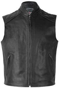 SKINTAN Leather Motorcycle Waistcoat Black Biker Vest  Mens Gilet - RANGER