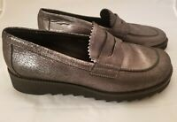 Donald J Pliner Womens Slip On Loafers Shoes Size 9.5 M Gun Metal Metallic