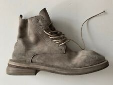 marsell SOFT BEIGE suede COMBAT BOOTS with distressed treatment it41 usa11 NEW