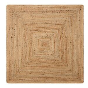 DHAKA Braided Square Rug Hand Woven with Natural Indian Jute Medium Large Extra