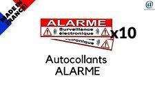"""Lot de 10 Autocollant / Sticker dissuasif  """" ALARME """"   SUPER PROMO   !!!"""