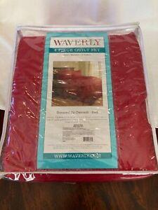 Waverly King Damask Quilt, Bedskirt, 2 Shams Red