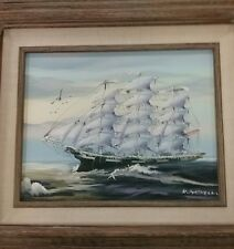 K.MASKELL SAILING SHIP ORIGINAL OIL ON CANVAS PAINTING