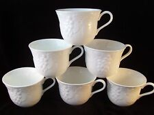 Wedgwood Strawberry & Vine (6) Teacups England Retired Embossed Pattern Tea Cups