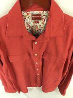 Tommy Hilfiger Mens Large Red Long Sleeve Button Front Red Label Denim C-90
