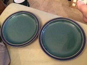 Denby Harlequin Dinner plates  X 2 26cm Diameter Vgc Blue Green