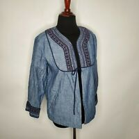 NEW LOFT women XS Chambray Embroidered Swing Cotton Floral Cardigan