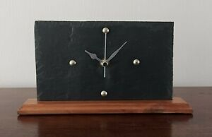 SMALL MODERN GREY SLATE MANTLE CLOCK WITH SOLID  WOOD BASE HANDCRAFTED