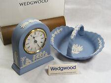 Wedgwood Blue Jasper Ware Large Dome Clock & Matching  Cranberry Basket, Superb