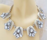 M&S 20's Style  Glamour Statement Necklace Silver Diamante & Ivory Tones