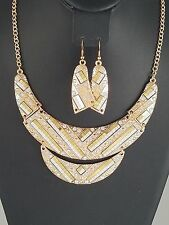Gold Silver and Clear FASHION Necklace Set