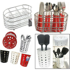 Cutlery Holder Caddy Pot Utensil Kitchen Stainless Steel Drainer Conical Stand