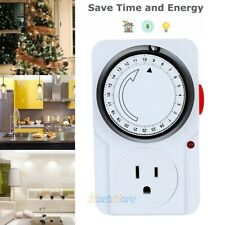 15 min to 24 Hour Plug in Mechanical Programmable Electric Outlet Timer Grounded