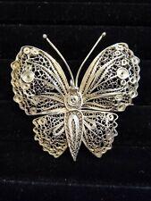"Vintage Sterling Silver Peru 925 2"" Filigree Butterfly Brooch"