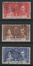 1937 CORONATION STAMPS FROM SWAZILAND. SG25-27. GOOD TO FINE USED.