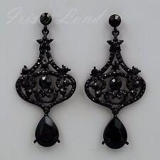 Women Black Jet Crystal Rhinestone Wedding Chandelier Drop Dangle Earrings 08896