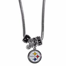 Pittsburgh Steelers Euro Bead Necklace NFL Football Licensed Rhinestones Charm