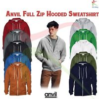 ANVIL Adult Classic Full Zip Hooded Sweatshirt Casual Sports Pullover Hoodie TOP